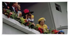 Hand Towel featuring the photograph The Queen At Derby Day 1988 by Travel Pics