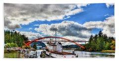 The Rainbow Bridge - Laconner Washington Bath Towel by David Patterson