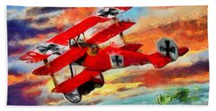 The Red Baron Hand Towel by Caito Junqueira
