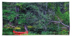 The Red Canoe Bath Towel by David Patterson