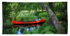 The Red Canoe On The Lake Hand Towel