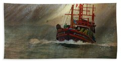 The Red Fishing Boat Hand Towel