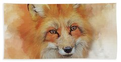 The Red Fox Bath Towel by Brian Tarr