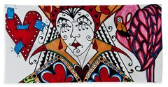 Bath Towel featuring the painting The Red Queen by Jani Freimann