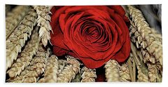 Bath Towel featuring the photograph The Red Rose On A Bed Of Wheat by Diana Mary Sharpton