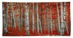 The Red Trees Bath Towel