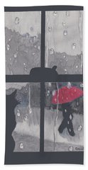The Red Umbrella Hand Towel by Quwatha Valentine