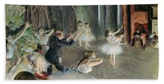 The Rehearsal Of The Ballet On Stage Hand Towel