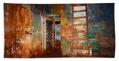 Bath Towel featuring the painting The Renovation by Holly Ethan