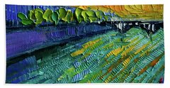 The Rhone River Palette Knife Oil Painting By Mona Edulesco Hand Towel