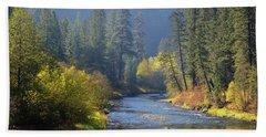 The River Runs Through Autumn Bath Towel