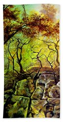 Hand Towel featuring the painting The Rocks In Starachowice by Henryk Gorecki