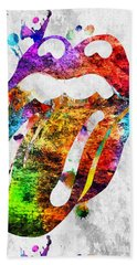 The Rolling Stones Logo Grunge Bath Towel by Daniel Janda