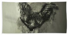 The Rooster Monochrome Bath Towel by Jack Torcello