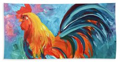 Bath Towel featuring the painting The Rooster by Tom Riggs