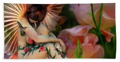 The Rose Fairy Hand Towel by Carol Cavalaris