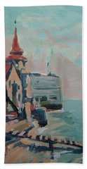 Bath Towel featuring the painting The Round Tower Of Portsmouth by Nop Briex