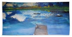Hand Towel featuring the painting The Rowboat by Gary Smith