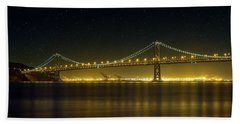 The San Francisco Oakland Bay Bridge At Night Bath Towel