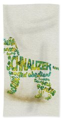 Bath Towel featuring the painting The Schnauzer Dog Watercolor Painting / Typographic Art by Inspirowl Design