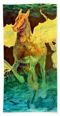 Bath Towel featuring the painting The Seahorse by Henryk Gorecki