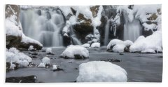 The Secret Waterfall In Winter 1 Bath Towel