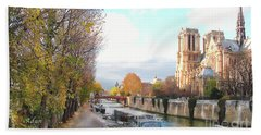 The Seine And Quay Beside Notre Dame, Autumn Hand Towel by Felipe Adan Lerma