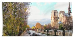 Bath Towel featuring the photograph The Seine And Quay Beside Notre Dame, Autumn by Felipe Adan Lerma