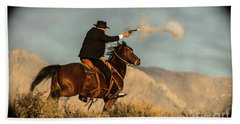 The Sharp Shooter Western Art By Kaylyn Franks Bath Towel