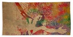 The Shawshank Redemption Movie Inspired Watercolor Portrait Of Tim Robbins On Worn Distressed Canvas Bath Towel