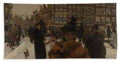The Singel Bridge At The Paleisstraat In Amsterdam, 1896 Bath Towel