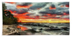 The Sky On Fire At Sunset On Lake Erie Bath Towel