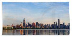 The Skyline Of Chicago At Sunrise Hand Towel