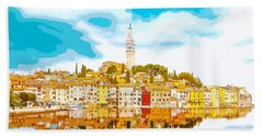 The Skyline Of The Picturesque Fishing Port Of Rovinj/rovigno In Hand Towel