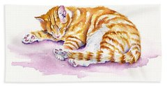 The Sleepy Kitten Hand Towel by Debra Hall