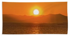 The Smoke From A Forest Fire Gave Us This Tangerine Sky Over 11-mile Reservoir State Park, Colorado. Bath Towel