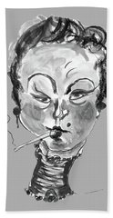 Hand Towel featuring the mixed media The Smoker - Black And White by Marian Voicu