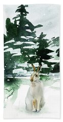 Hand Towel featuring the painting The Snow Bunny by Colleen Taylor