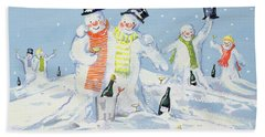 The Snowmen's Party Hand Towel by David Cooke