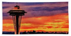 Hand Towel featuring the digital art The Space Needle by PixBreak Art