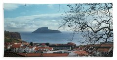 Hand Towel featuring the photograph The Split Rock Of Terceira by Kelly Hazel