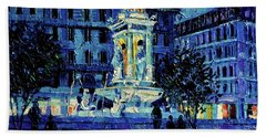 The Square Of Jacobins Illuminated - Lyon France - Modern Impressionist Palette Knife Painting Bath Towel