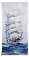 The Square-rigged Clipper Argonaut Under Full Sail Bath Towel