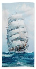 The Square-rigged Wool Clipper Argonaut Under Full Sail And Running Before The Wind, With The  Steam Bath Towel