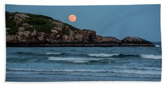 The Strawberry Moon Rising Over Good Harbor Beach Gloucester Ma Island Hand Towel