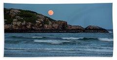 The Strawberry Moon Rising Over Good Harbor Beach Gloucester Ma Island Bath Towel