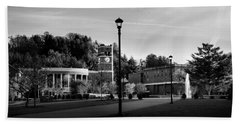 The Sun Rises On Western Carolina University In Black And White Bath Towel