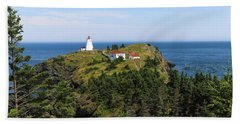 The Swallowtail Lightstation Hand Towel by Gary Hall
