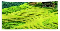 The Terraced Fields Scenery In Autumn Bath Towel