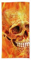 Flaming Skull Bath Towel